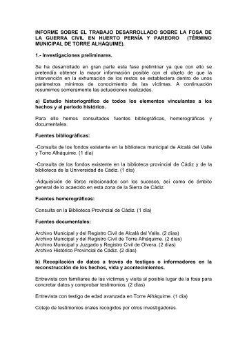 Actuaciones para la Recuperación de la Memoria Histórica de Torre ...