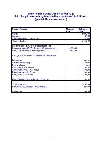 muster einer monats gehaltsabrechnung pro bav pensionskasse - Gehaltsabrechnung Muster