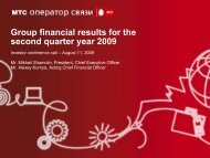 Group financial results for the second quarter year 2009 - Mobile ...