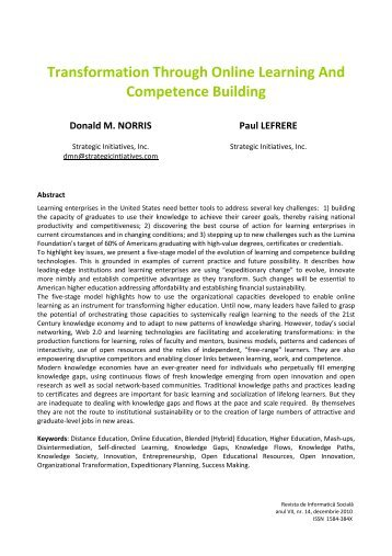 Transformation Through Online Learning And Competence Building