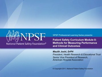 Patient Safety Curriculum Module 8: Methods for Measuring ...