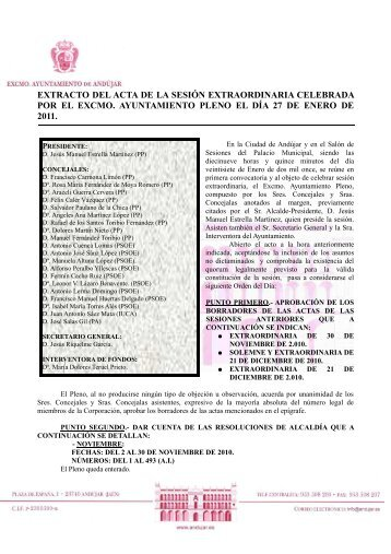 Extracto Pleno Extraordinario 27 Enero 2011 - Ayuntamiento de ...