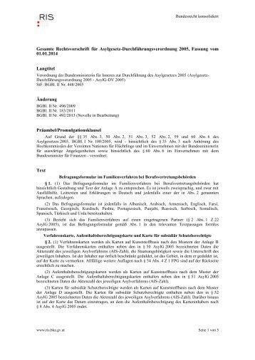 Asylgesetz-Durchführungsversordnung 2005 - UNHCR