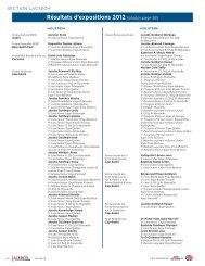 Résultats d'expositions 2012 (photos page 58) - Agri-Marché
