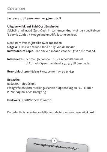 2008 Juni - Wijkraad Zuid-Oost Enschede