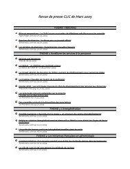 Revue de presse CLIC de Mars 2005 - Site officiel de la ville d ...