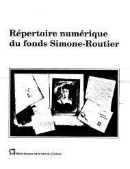Répertoire numérique du fonds Simone-Routier