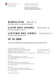 KURSLISTE Band 2 LISTE DES COURS Volume 2 ... - admin.ch