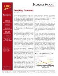 Doubting Thomases (Economic Insights) - CIBC World Markets