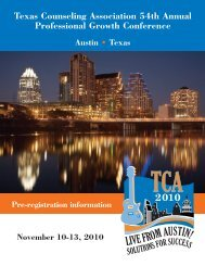 Texas Counseling Association 54th Annual Professional Growth ...