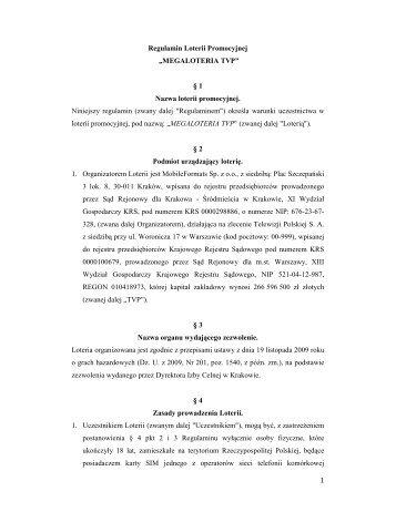 Regulamin Loterii Megaloteria TVP
