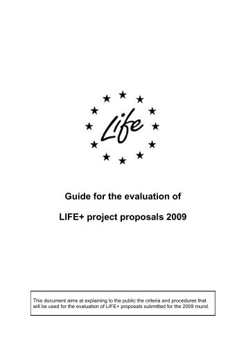 1 LIFE+ 2009 Evaluation Guide FINAL - Infoeuropa