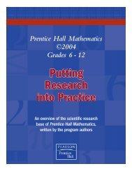 Prentice Hall Mathematics ©2004 Grades 6 - 12 - Pearson