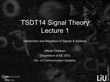 TSDT14 Signal Theory Lecture 1 - Communication Systems