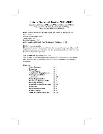 Intern Survival Guide 2011-2012 - VCU Internal Medicine Electronic ...
