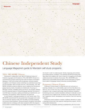 Chinese Independent Study - Language Magazine