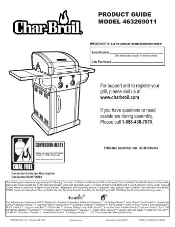 PRODUCT GUIDE MODEL 463269011 - Char-Broil Grills