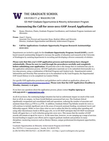 Announcing the Call for 2010-2011 GOP Award Applications