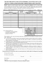 Digital Copies Order Form - Leicestershire County Council