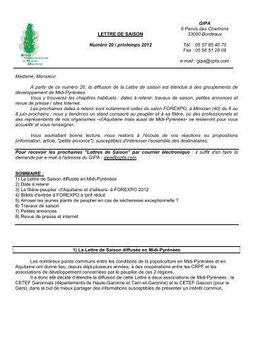 n°20 printemps 2012 - Le Centre Régional de Propriété Forestière ...