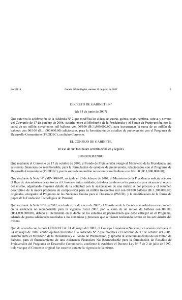 FONDO DE PREINVERSIÓN - Gaceta Oficial Digital