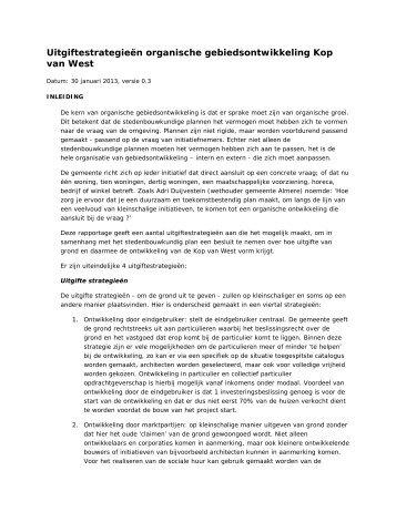 03e Uitgiftestrategieen organische gebiedsontwikkeling Kop van ...