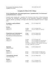 Læseplan for Efterår 2013, Odense - Syddansk Universitet