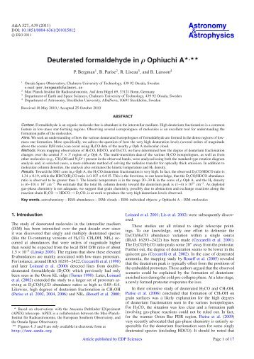 Deuterated formaldehyde in rho Ophiuchi A - Mpifr-bonn.mpg.de