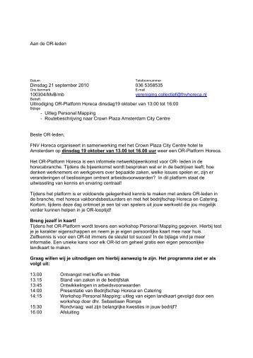 Aan de OR-leden Dinsdag 21 september 2010 ... - FNV Horecabond