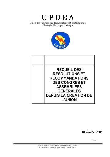 Recueil des Résolut.. - association des societes d'electricite d'afrique