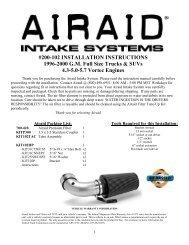 #200-102 INSTALLATION INSTRUCTIONS 1996-2000 G.M. ... - Airaid