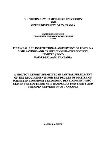 Dar Es Salaam, Tanz - SNHU Academic Archive - Southern New ...