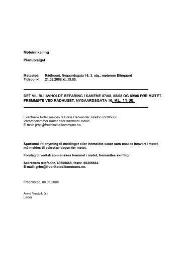 Møteinnkalling Planutvalget DET VIL BLI AVHOLDT BEFARING I ...