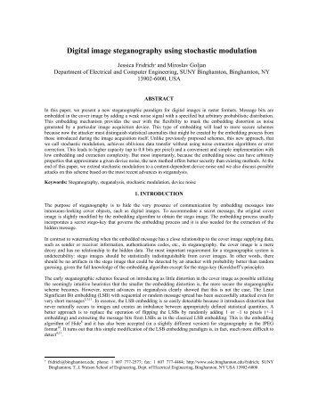 Digital image steganography using stochastic ... - Watson School