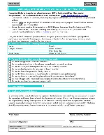 Retirement Plan Loan Application Form - MSU Human Resources ...