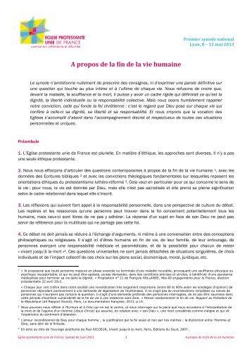 A propos de la fin de la vie humaine - Eglise réformée de France