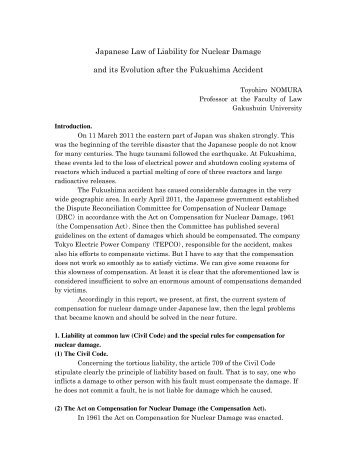 Japanese Law of Liability for Nuclear Damage and ... - Burges Salmon