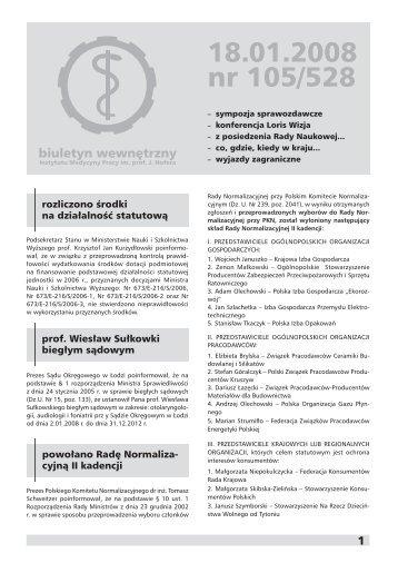 18.01.2008 nr 105/528 - Instytut Medycyny Pracy im. prof. J. Nofera