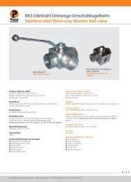 BK3 Edelstahl-Dreiwege-Umschaltkugelhahn Stainless steel three ...