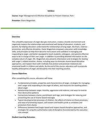 Syllabus Course: Anger Management & Effective Discipline to ...