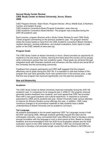 Resident Director Report