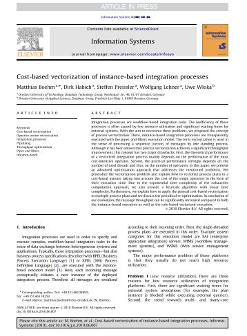 Cost-based vectorization of instance-based integration processes
