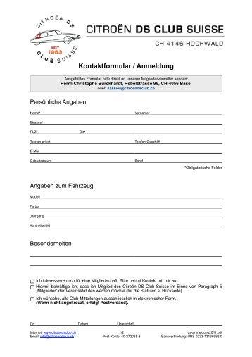 Kontaktformular / Anmeldung - Citroën DS Club Suisse