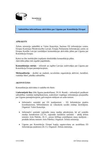 Sabiedrības informēšanas aktivitātes par Līgumu par Konstitūciju ...