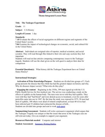 Theme-Integrated Lesson Plans Title: The Tuskegee Experiment ...