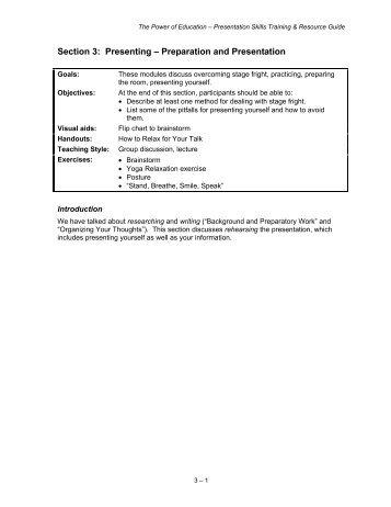 Section 3: Presenting – Preparation and Presentation - Jane Doe Inc.