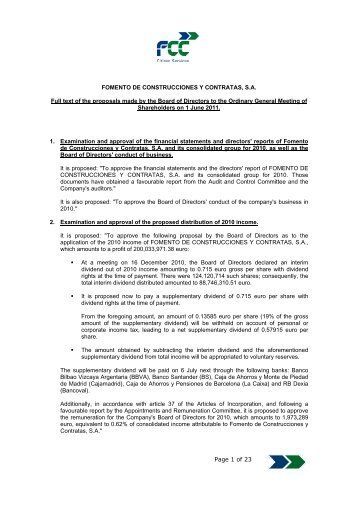 Proposed resolutions submitted to the Geneal Shareholders - FCC