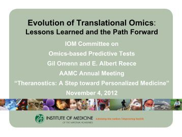 Evolution of Translational Omics: