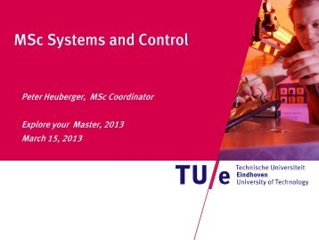 MSc Systems and Control - Explore Your Master 2013