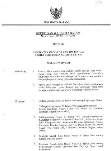 WALIKOTA BATAM Menimbang - SKPD Pemerintah Kota Batam